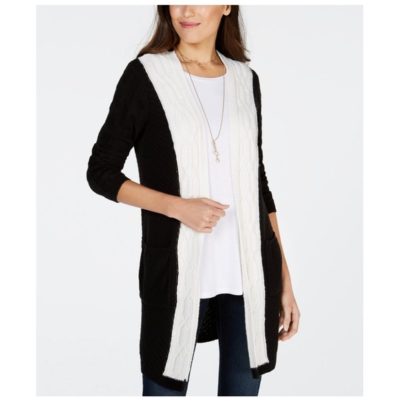 Style & Co Sweaters - STYLE & CO Colorblocked Cable-knit Cardigan